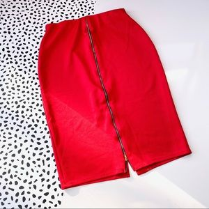 Red Hot Gal Body Con Knee Length Skirt L